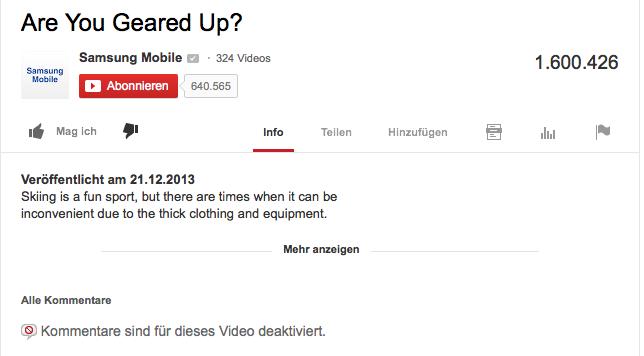 Samsung schließt die Kommentarfunktion unter YouTube-Video