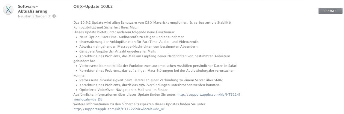 Apple veröffentlicht OS X Mavericks 10.9.2 mit FaceTime Audio und Fehlerbehebungen 1
