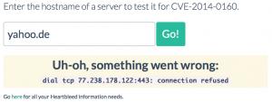 Yahoo von OpenSSL-Lücke betroffen (Seite: http://filippo.io/Heartbleed/)