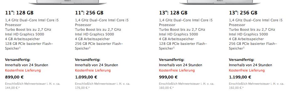 Apple MacBook Air Daten - 2014