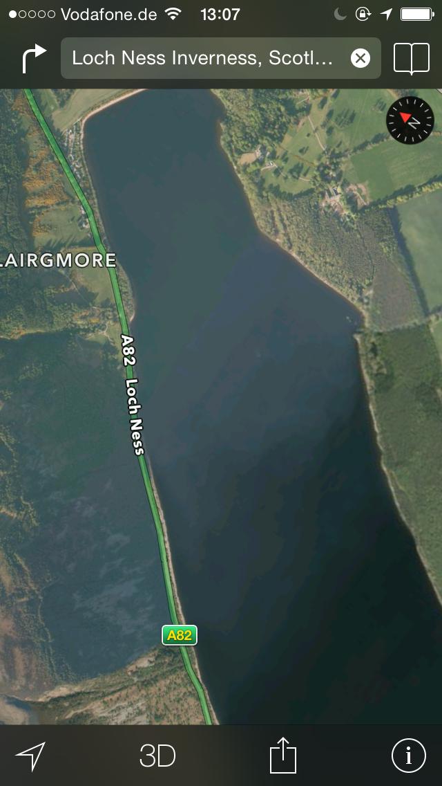 Loch Ness Monster (Bild: Apple Karten)