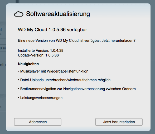 WD My Cloud: Update 1.0.5.36 jetzt verfügbar 1