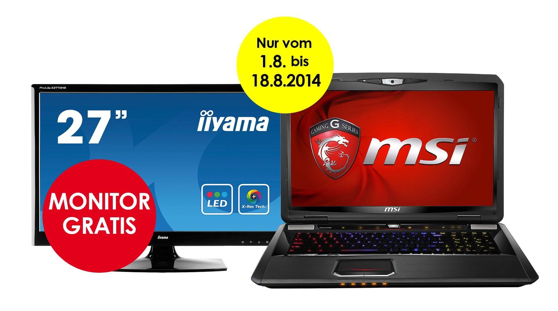 MSI: TFT-Monitor beim kauf Notebook geschenkt 1