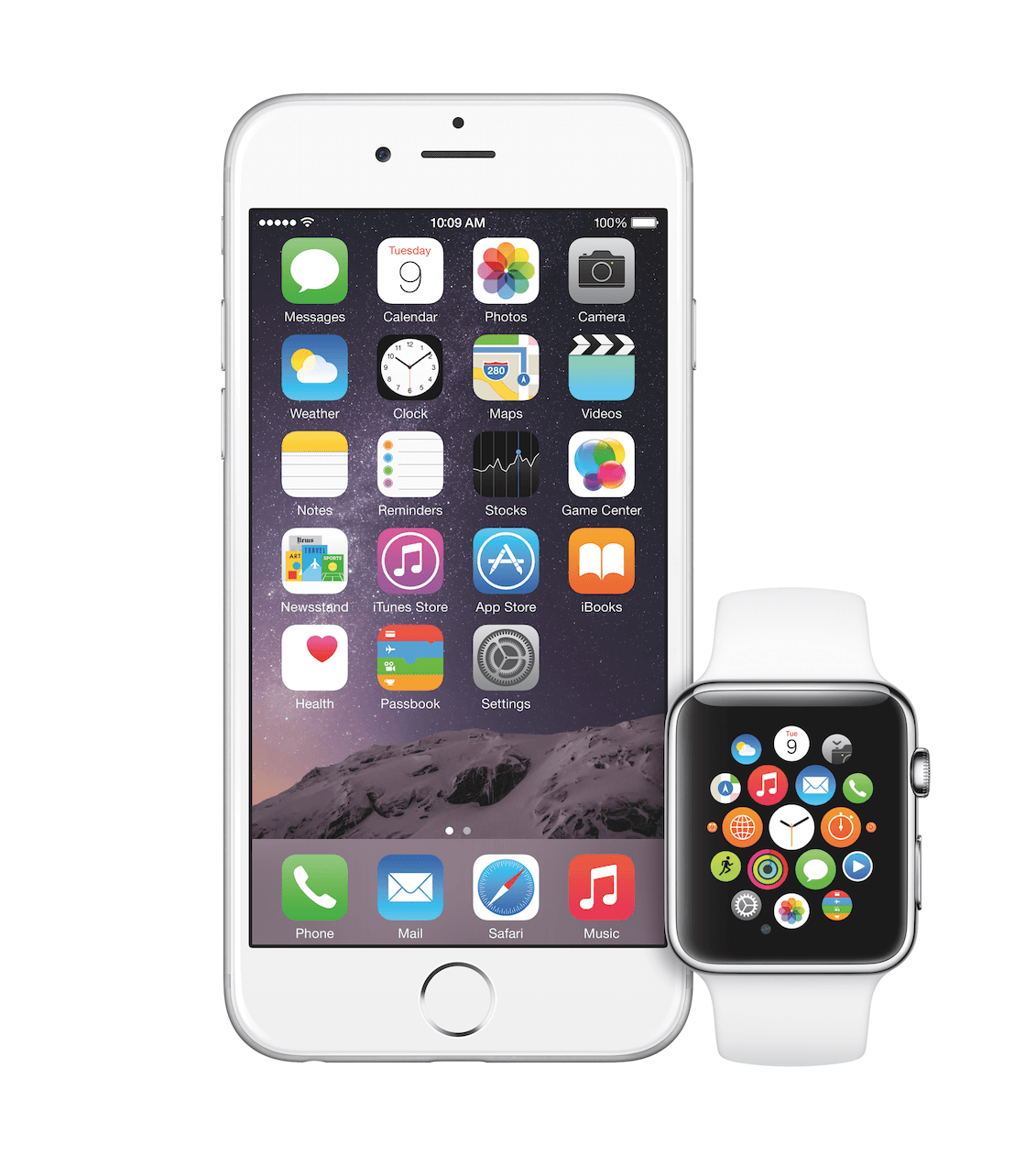 Das iPhone 6 Plus mit einer Apple Watch Sport