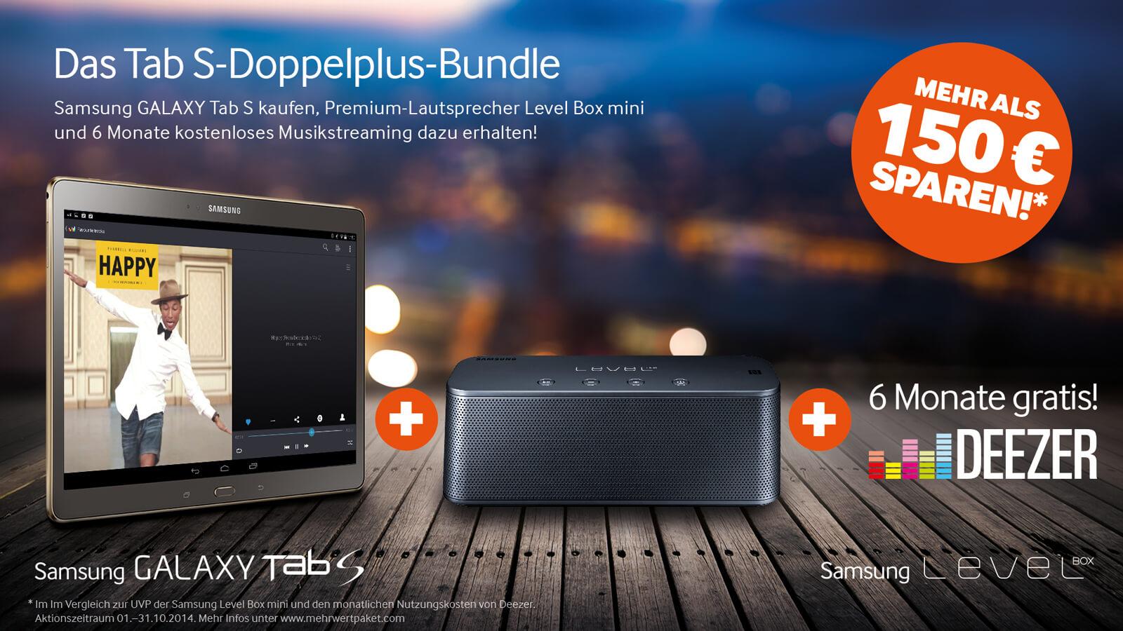 Samsung Level Box Mini mit Deezer beim Kauf eines Galaxy Tab S 1