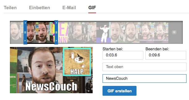YouTube GIF Funktion