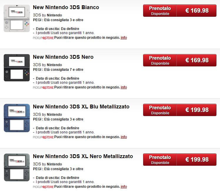 New Nintendo 3DS Gamestop Italien