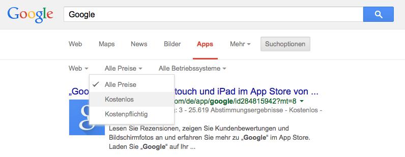 Google Apps Suchoptionen