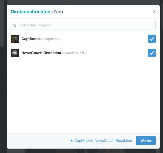 Twitter-Gruppen-Direktnachrichten
