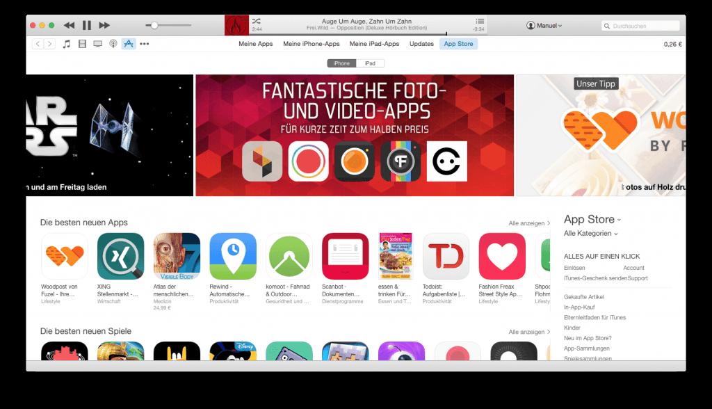 iTunes unter Mac OS Yosemite