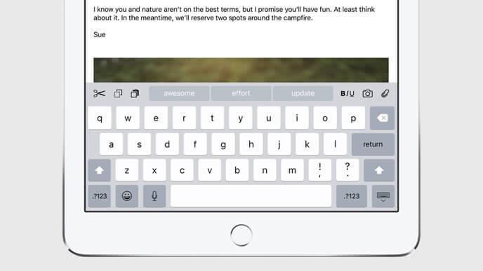iPad - iOS 9 Tastatur