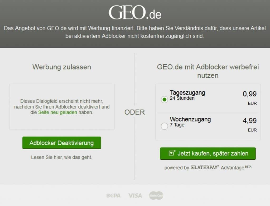 GEO.de sperrt Nutzer mit AdBlock aus
