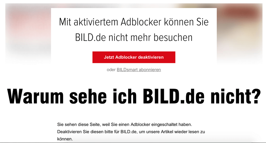 BILD.de sperrt AdBlocker aus