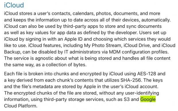 Apple verwendet für iCloud die Google Cloud zur Datenspeicherung? 1