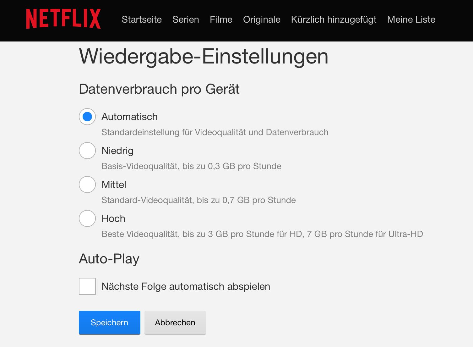 Netflix Autoplay deaktivieren - Kontoeinstellung